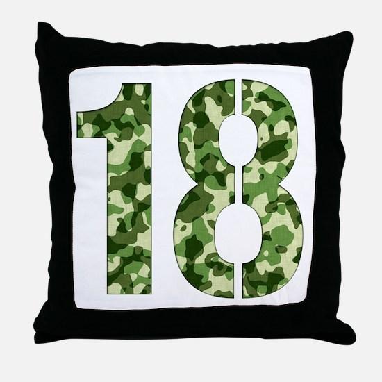 Number 18, Camo Throw Pillow