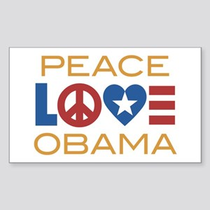 Peace, Love, Obama Sticker (Rectangle)
