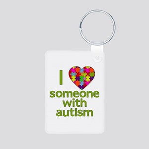 I Love Someone with Autism Aluminum Photo Keychain