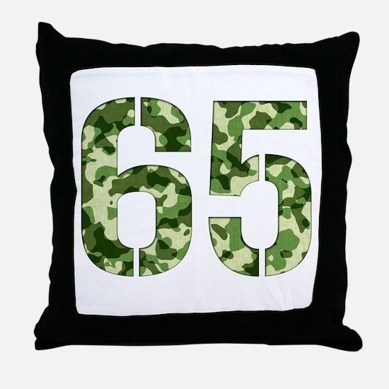 Number 65, Camo Throw Pillow