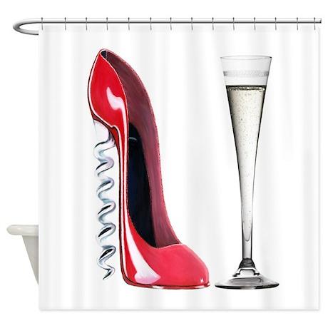 Red Corkscrew Stiletto Shoe a Shower Curtain