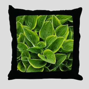 Lush green hosta leaves Throw Pillow