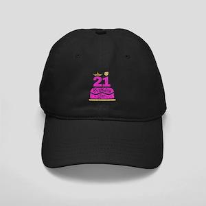 21st Birthday Girl Pink Princ Black Cap With Patch