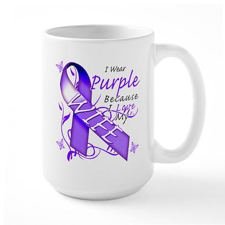 I Wear Purple I Love My Wife Large Mug