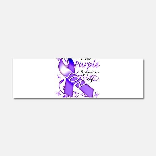 I Wear Purple I Love My Son Car Magnet 10 x 3