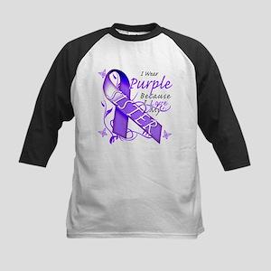 I Wear Purple I Love My Siste Kids Baseball Jersey