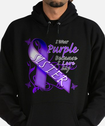 I Wear Purple I Love My Siste Hoodie (dark)