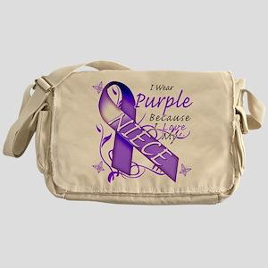 I Wear Purple I Love My Niece Messenger Bag