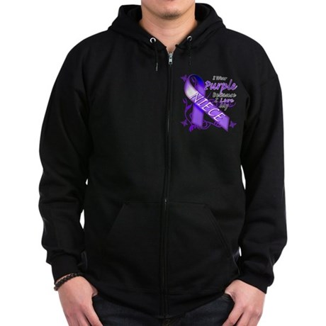 I Wear Purple I Love My Niece Zip Hoodie (dark)