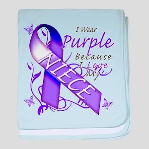 I Wear Purple I Love My Niece baby blanket