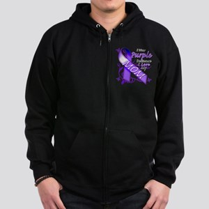 I Wear Purple I Love My Mom Zip Hoodie (dark)
