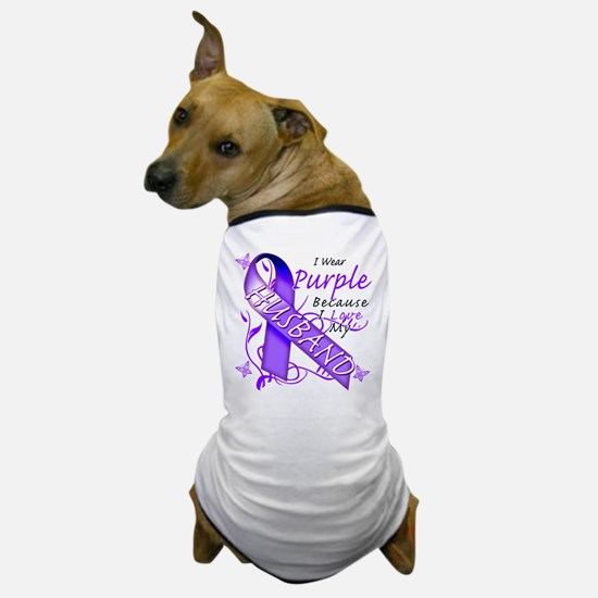 I Wear Purple I Love My Husba Dog T-Shirt