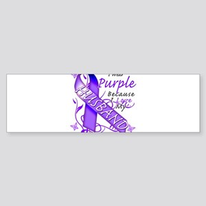 I Wear Purple I Love My Husba Sticker (Bumper)