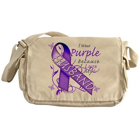 I Wear Purple I Love My Husba Messenger Bag