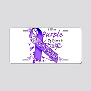 I Wear Purple I Love My Grand Aluminum License Pla