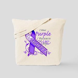 I Wear Purple I Love My Daugh Tote Bag