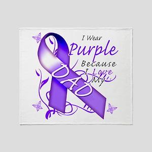 I Wear Purple I Love My Dad Throw Blanket