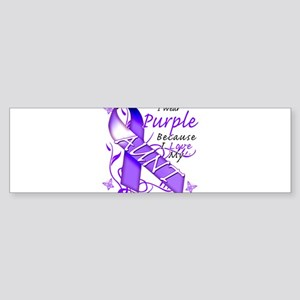 I Wear Purple I Love My Aunt Sticker (Bumper)