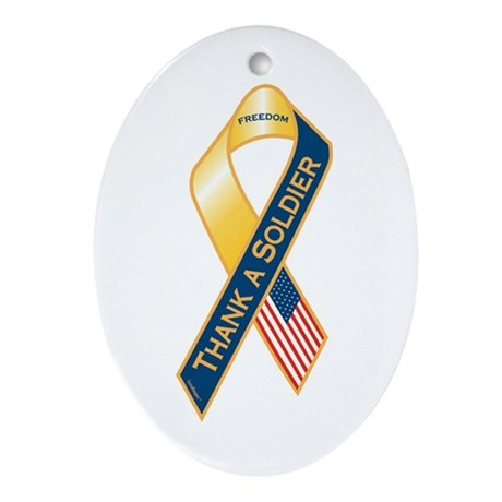Thank A Soldier Ribbon Oval Ornament