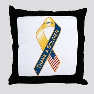Thank A Soldier Ribbon Throw Pillow