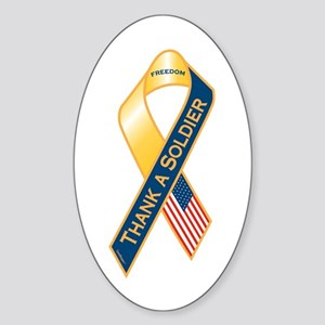 Thank A Soldier Ribbon Sticker (Oval)