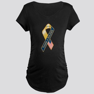 Thank A Soldier Ribbon Maternity Dark T-Shirt