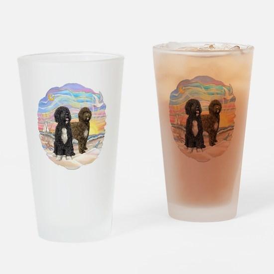 OceanSunrise-2PWD-brn+blk Drinking Glass