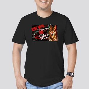 ride with the wolf Men's Fitted T-Shirt (dark)