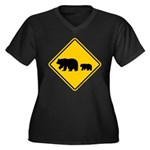 Bear Migration CA Women's Plus Size V-Neck Dark T-