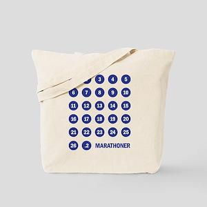 Marathon Numbers Blue Tote Bag
