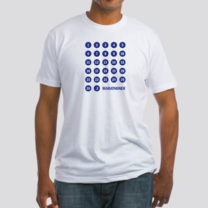 Marathon Numbers Blue Fitted T-Shirt