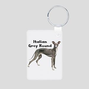 Italian Greyhound Aluminum Photo Keychain