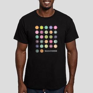 Marathon Numbers Pastel Men's Fitted T-Shirt (dark
