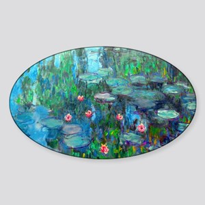 Monet - Water Lilies 1914 v2 Sticker (Oval)