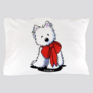 Red Ribbon Westie Pillow Case