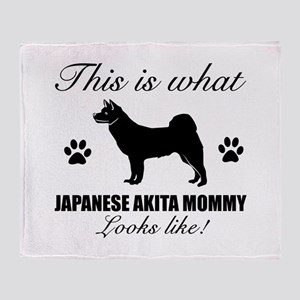 Japanese Akita Mommy Throw Blanket