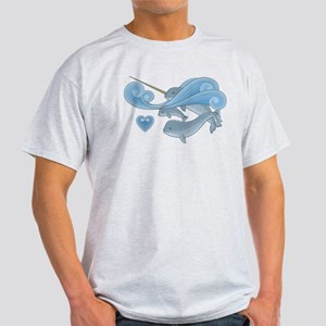 Blue Narwhal Family Light T-Shirt