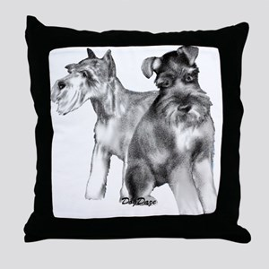 two schnauzers Throw Pillow