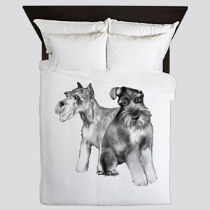 two schnauzers Queen Duvet