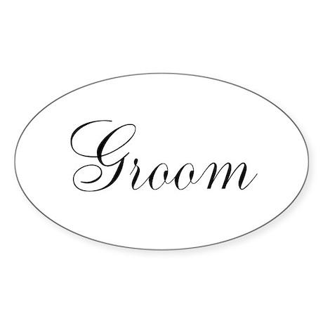 Groom Black Script Sticker (Oval 10 pk)