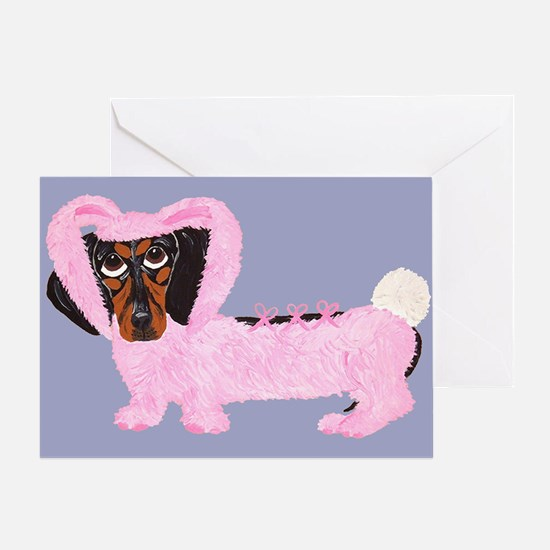Dachshund In Fuzzy Pink Bunny Greeting Card