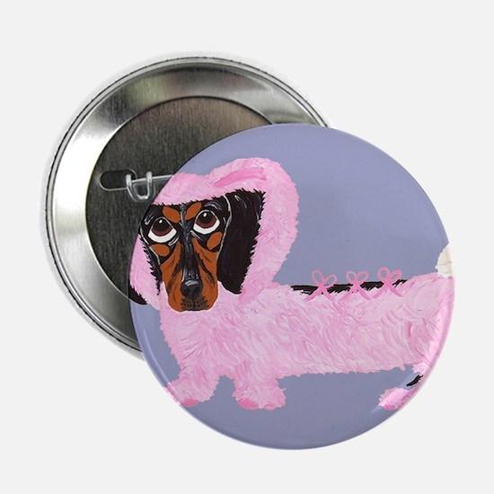 "Dachshund In Fuzzy Pink Bunny 2.25"" Button"