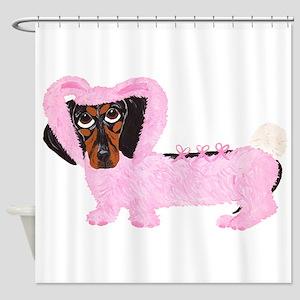 Dachshund In Fuzzy Pink Bunny Shower Curtain