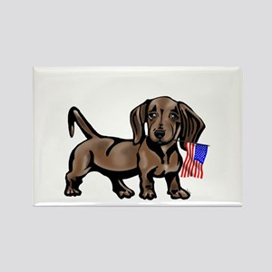 4th of July Dachshund Rectangle Magnet