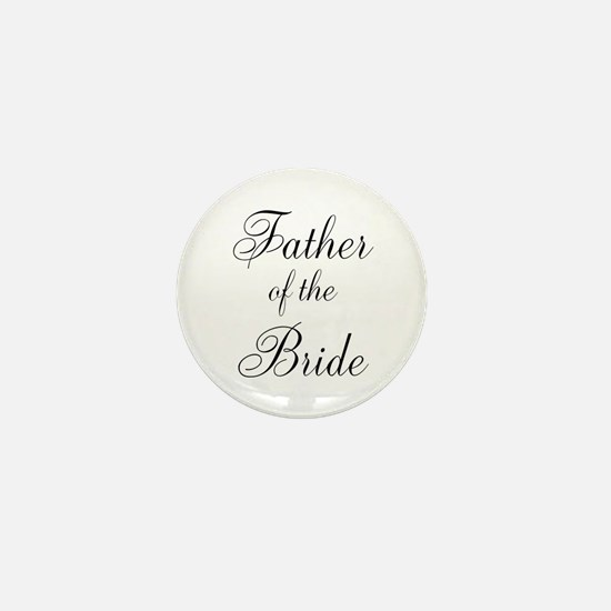 Father of the Bride Black Scr Mini Button
