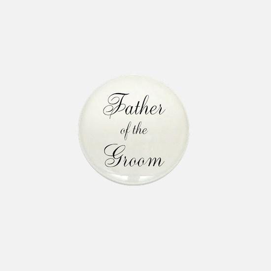 Father of the Groom Black Scr Mini Button