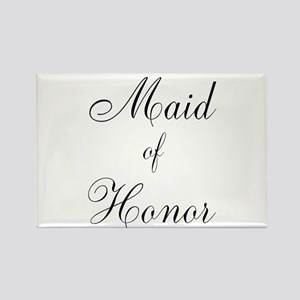 Maid of Honor Black Script Rectangle Magnet