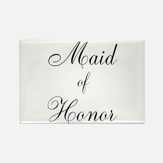 Maid of Honor Black Script Rectangle Magnet