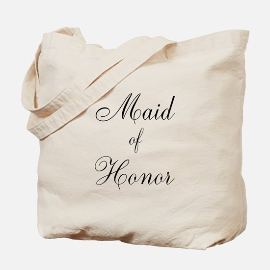 Maid of Honor Black Script Tote Bag