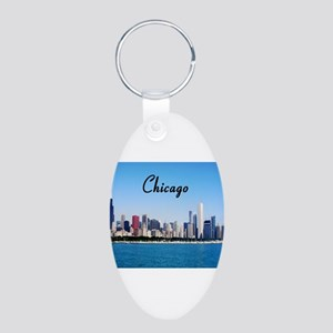Chicago Aluminum Oval Keychain